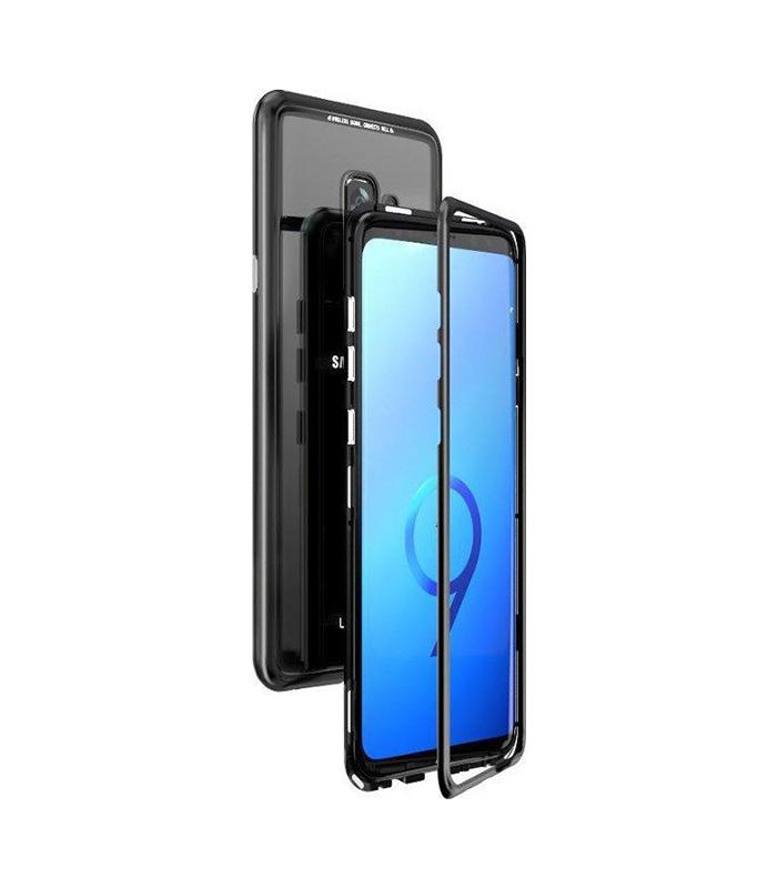 Μαγνητική Μεταλλική Θήκη 360 Με Πίσω Όψη από Tempered Glass για Samsung Galaxy S9 Plus – Μαύρη