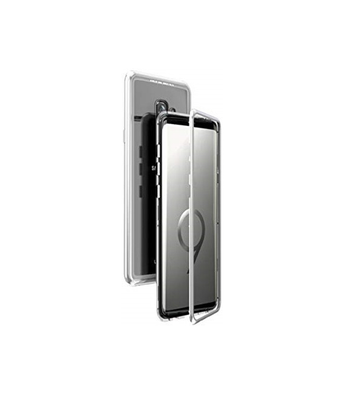 Μαγνητική Μεταλλική Θήκη 360 Με Πίσω Όψη από Tempered Glass για Samsung Galaxy S9 Plus – Ασημί
